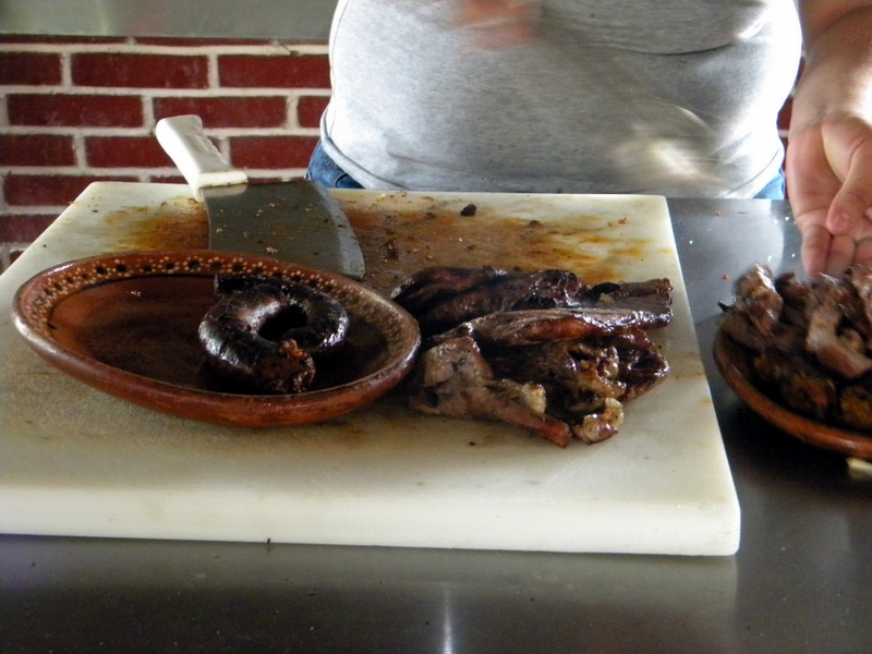 Boudin et viande grillée