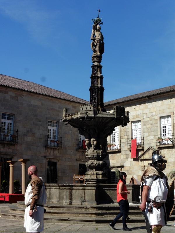 Soldats romains près de la fontaine