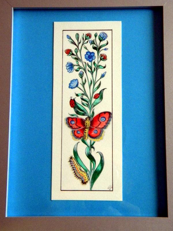 Fleurs et papillon