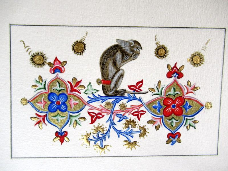 Enluminures, vélin, Bréviaire de Marie de Savoie, Babouin apprivoisé