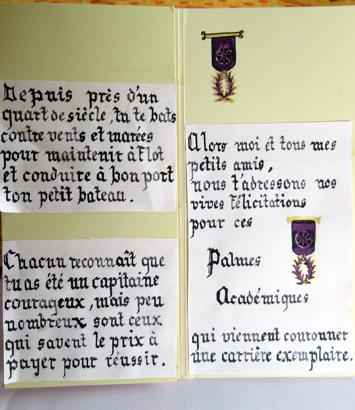 Enluminures, Calligraphies, Palmes Académiques